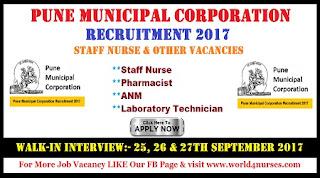 Pune Municipal Corporation Staff Nurse & Other Vacancies Recruitment 2017