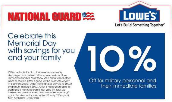 Home Depot has a veteran's discount policy that offers 10% off your order. In small print they only offer it to active duty, retired veterans and disabled veterans and NOT to veterans who served and were honorably discharged before retirement.