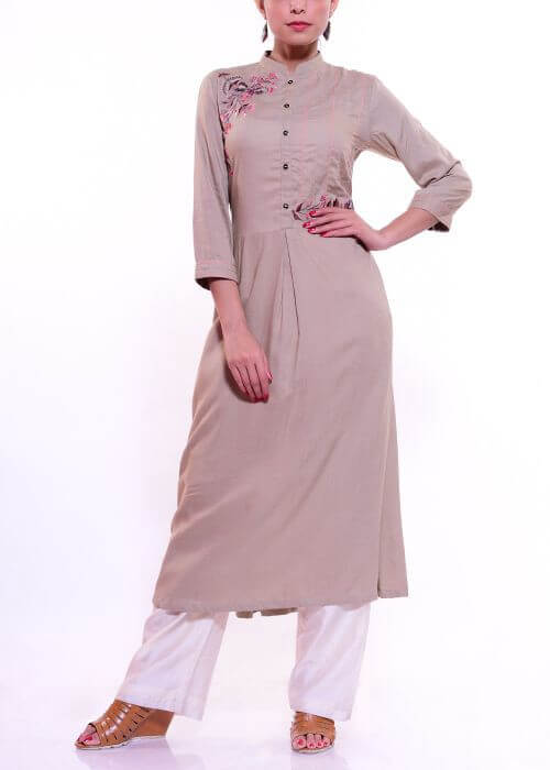 A-Line Long Kurti with Embroidery & Single Front Pleat