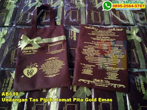 Toko Undangan Tas Pipih Hemat Pita Gold Emas