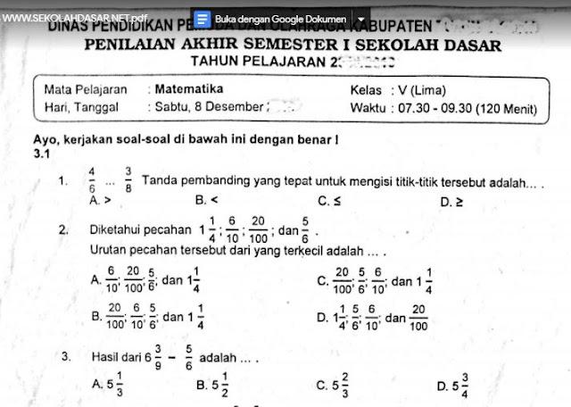 Soal Penilaian Akhir Semester 1 Matematika Kelas 5 K-13