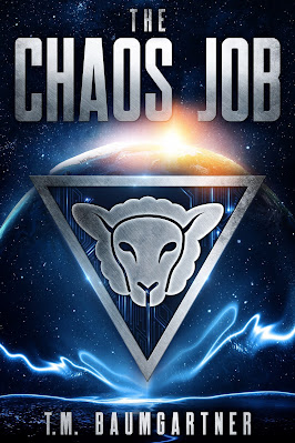 Book cover for The Chaos Job, with a metallic sheep head in front of a planet on a starry background