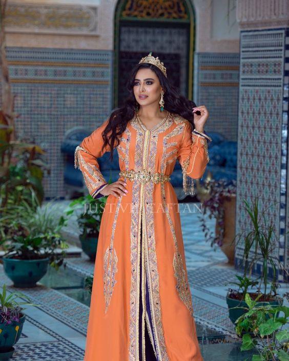 caftan mariée orange luxe 2021