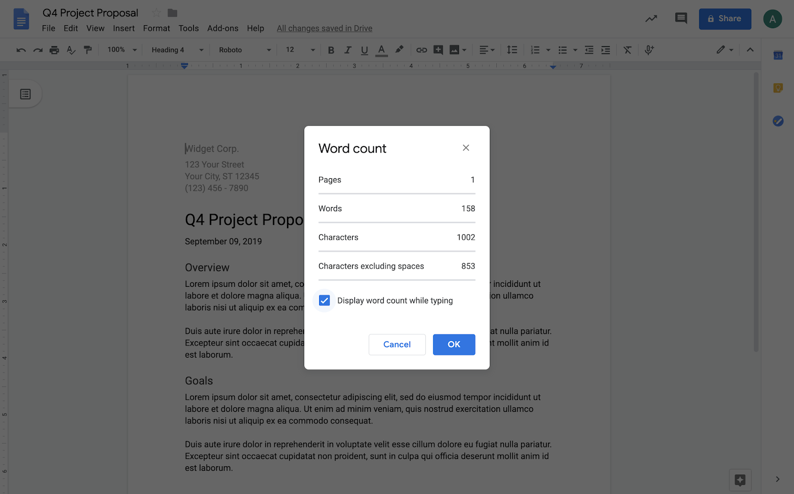 G Suite Updates Blog: Display the word count as you type in