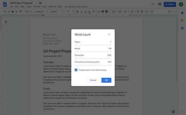 google docs, Display the word count as you type in Google Docs