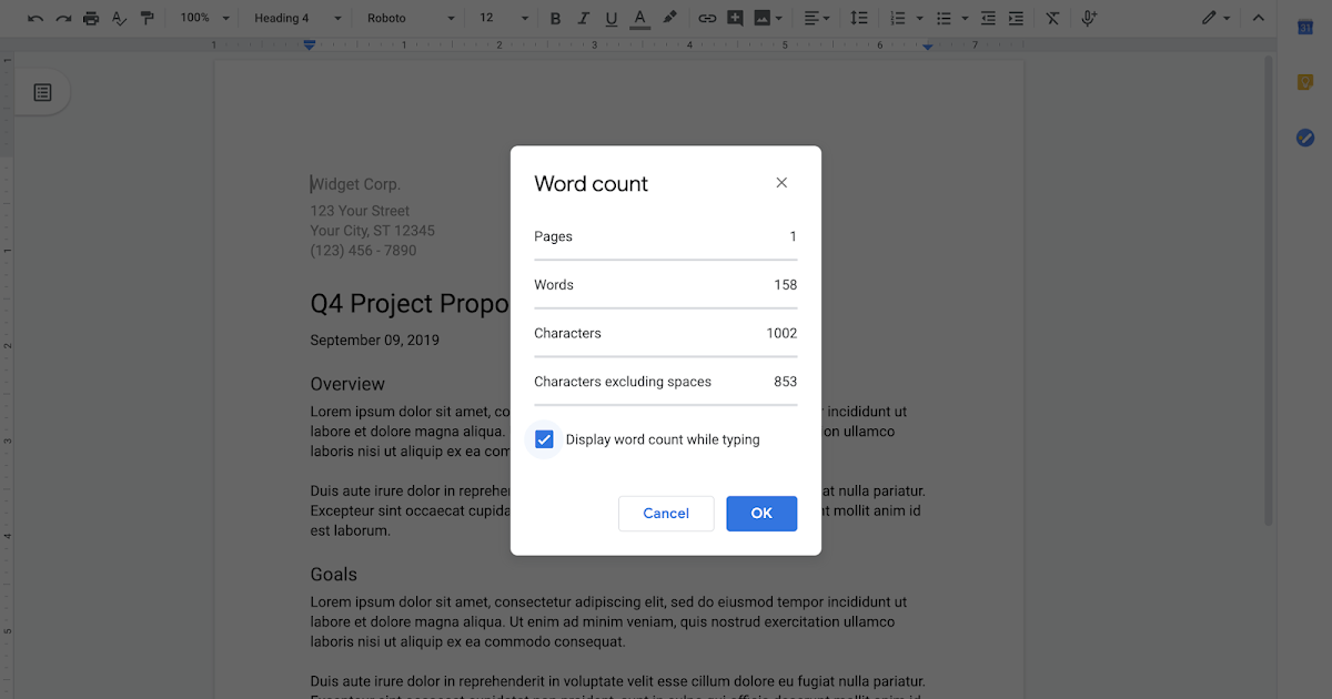 Display the word count as you type in Google Docs