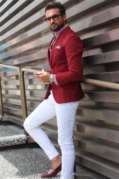 Red Blazer Jacket with Pants