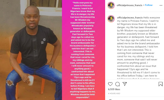 #BBNaija Princess Raises alarm of social media after accusing her brother of threatening to kill her