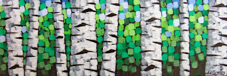 Summer Through The Birches No. 1 - 3, acrylic on canvas by artist aaron kloss