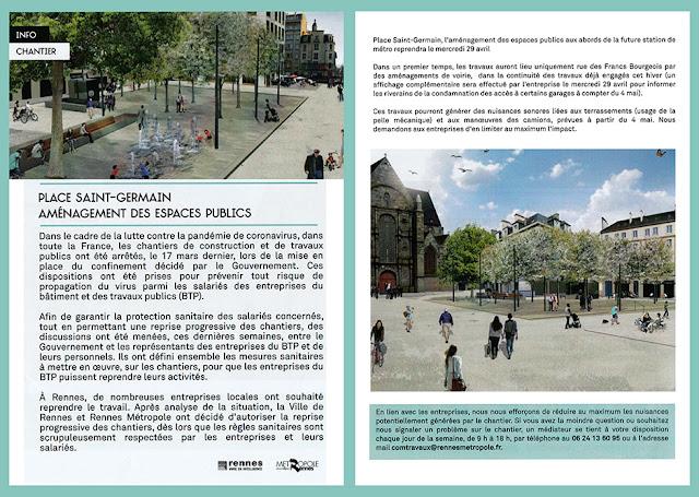 Info Chantier - Place Saint-Germain - Avril 2020 « Place Saint-Germain - Aménagement des espaces publics »