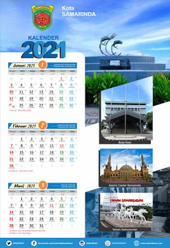 Desain Kalender Dinding 2021 Format 3 Bulan