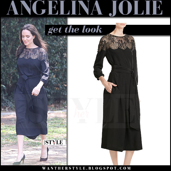 Angelina Jolie in black belted lace neckline midi dress vanessa seward premiere cambodia what she wore