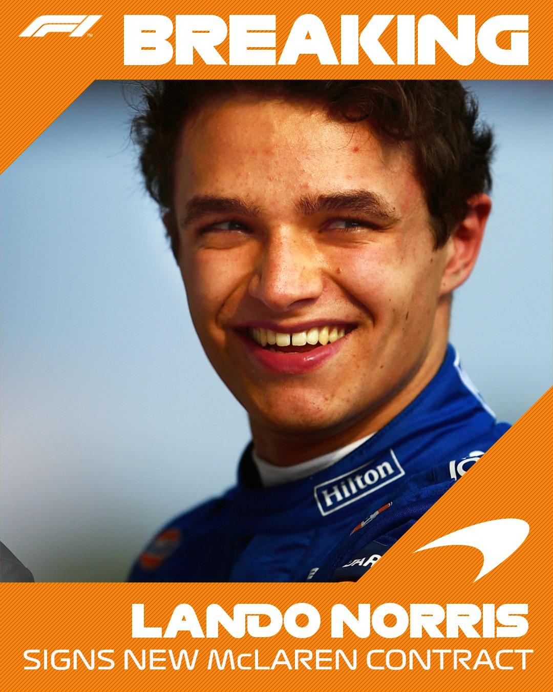 Lando Norris assina um novo contrato plurianual com a McLaren!