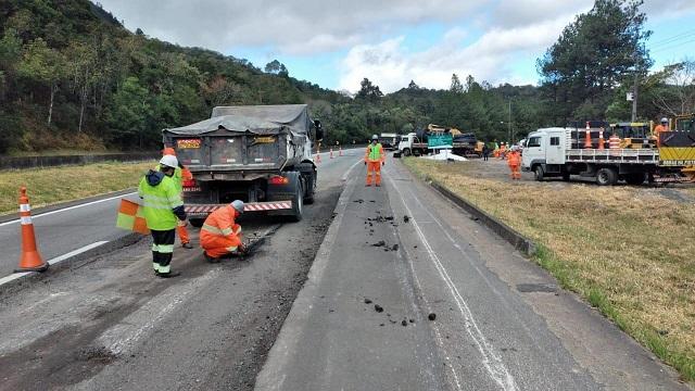 Arteris Régis Bittencourt investe em obras de reconstrução do pavimento na BR-116