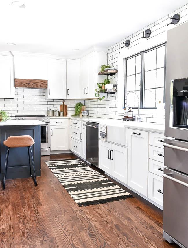 Bright white modern farmhouse open kitchen