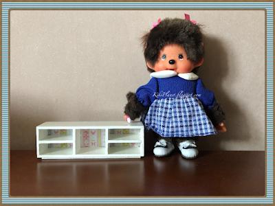 kiki monchhichi meuble télé miniature poupée handmade fait main  bois