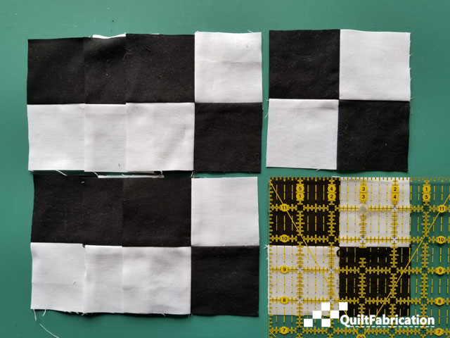 4.5 inch 4-patch blocks from 8 charm squares