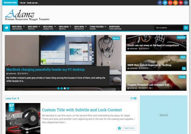 Adamz Ads Ready Blogger Template with responsive layout Free Full Verison