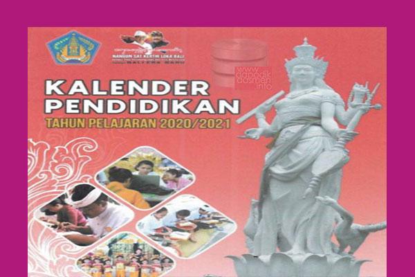 Kalender Pendidikan Provinsi Bali Tahun Pelajaran 2020-2021, Kaldik Provinsi Bali Tapel 2020/2021 berisi Rincian Hari Pertama Masuk Sekolah di Bali dan Penerimaan Raport Sekolah di Bali serta Rincian Hari Efektif Lainnya