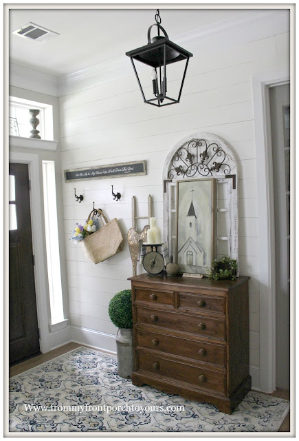 French Country- Farmhouse- Foyer-Vintage-DIY-Shiplap-Carriage House Lantern-From My Front Porch To Yours