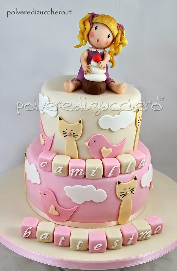 Conosciuto Torta decorata battesimo a due piani per una bimba: cake topper e  PU97