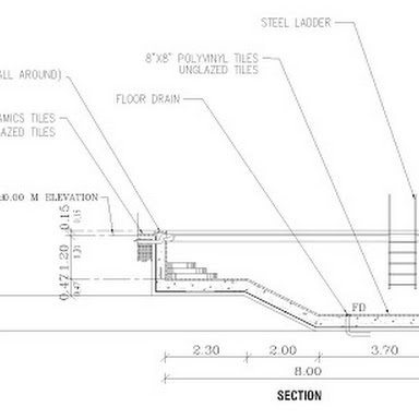Swimming pool structural and architectural details autocad dwg