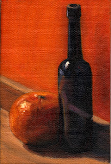Oil painting depicting a blue castor oil bottle beside a mandarine with an orange background.