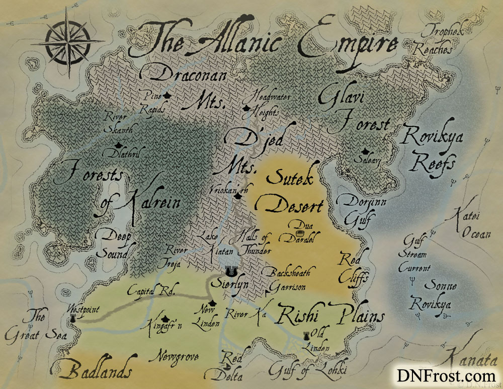 The Allanic Empire: varied lands united under one banner www.DNFrost.com/maps #TotKW A map for Broken by D.N.Frost @DNFrost13 Part of a series.