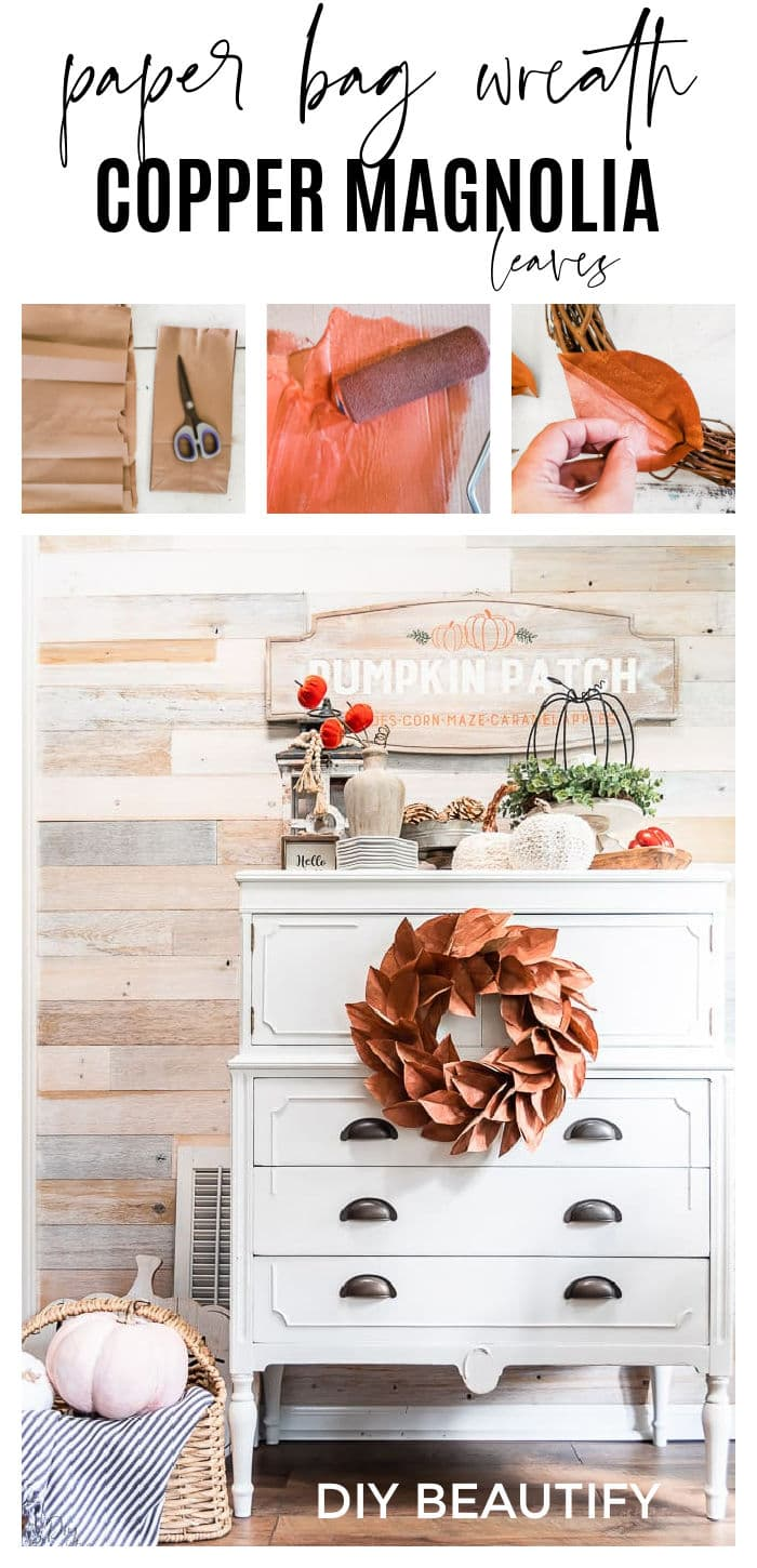 Fall copper magnolia wreath hanging on white dresser front, reclaimed wood walls and Fall vignette