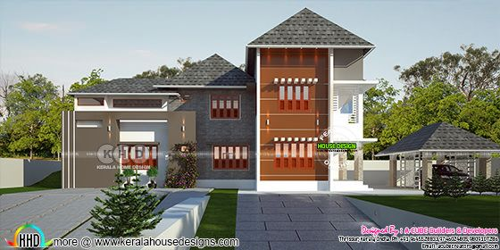 4 bedroom sloping roof home with separate car porch