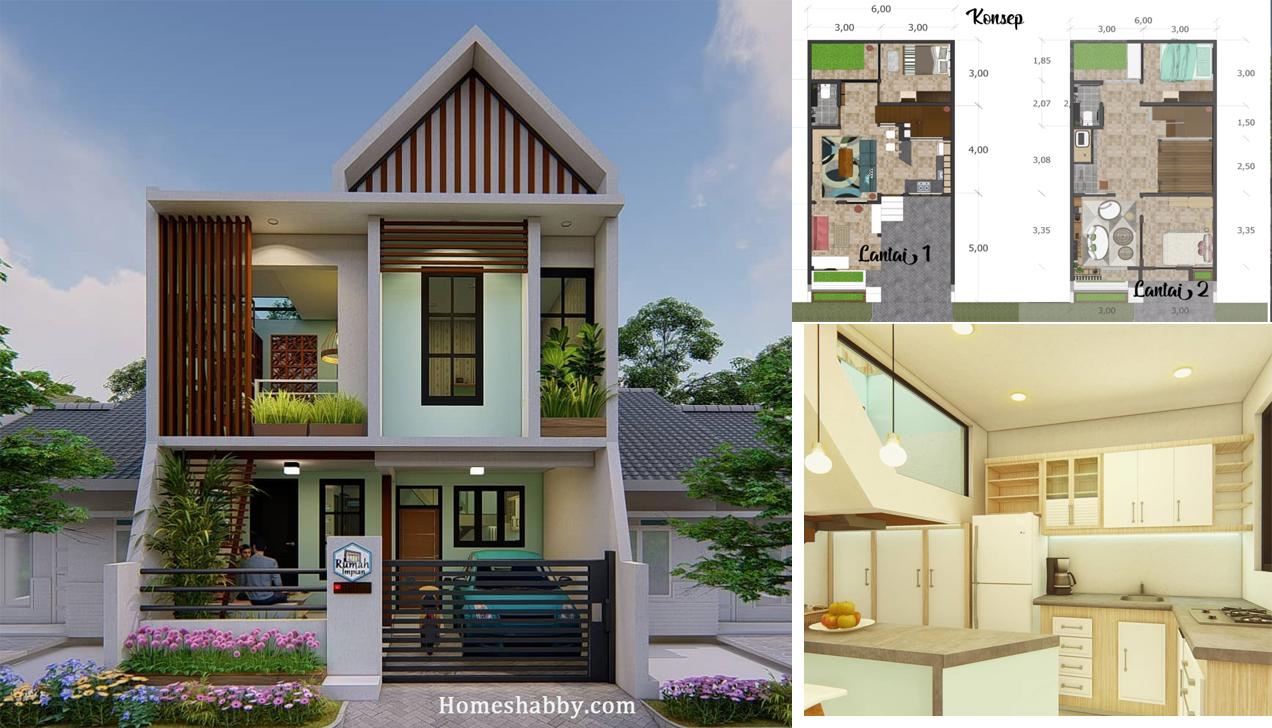 Desain Dan Denah Rumah Lantai 2 Dengan Ukuran 6 X 12 M Terdapat Musholla Keluarga Yang Elegan Homeshabby Com Design Home Plans Home Decorating And Interior Design