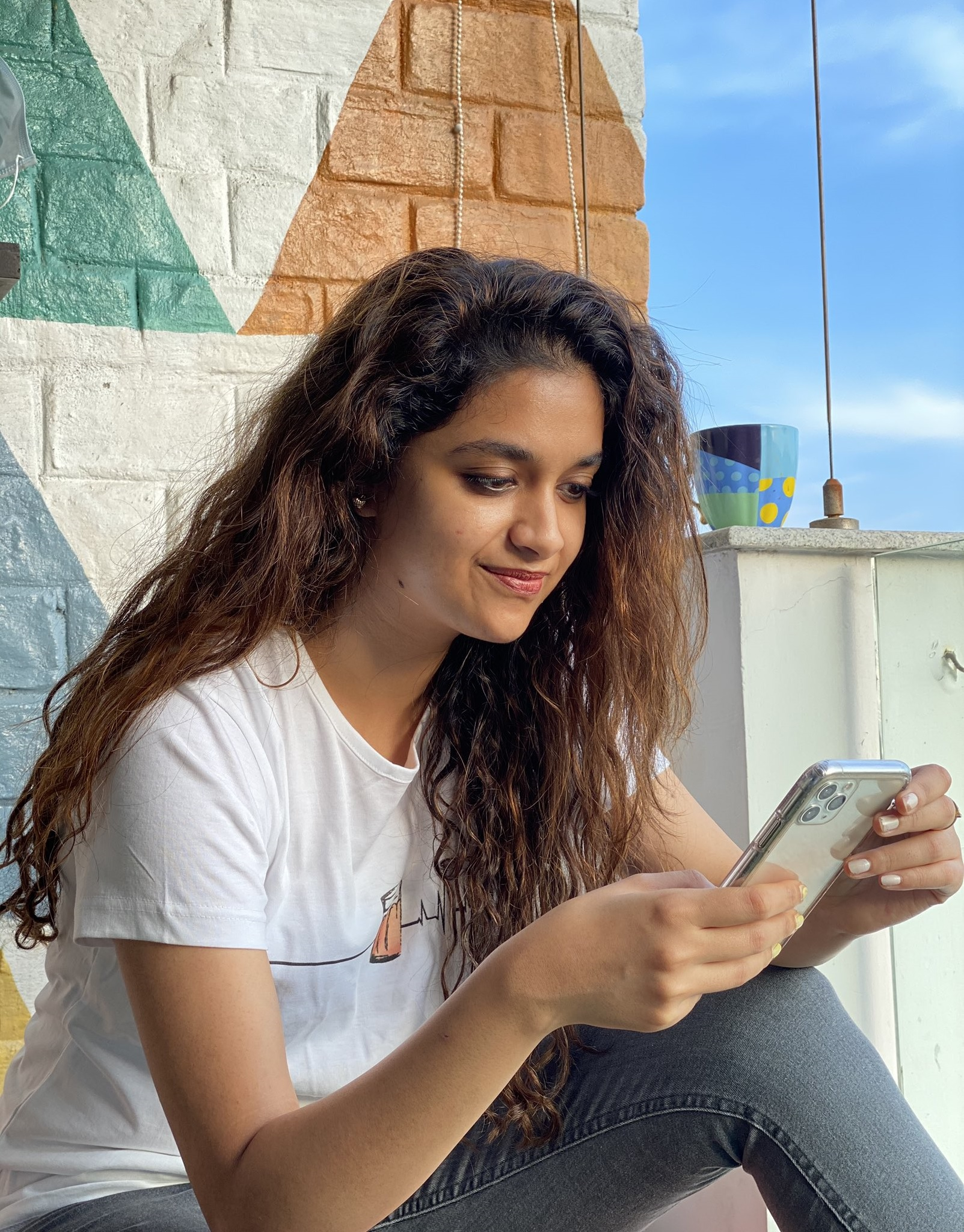 Keerthy Suresh in White Colour T-Shirt with Pretty Smile for Live Chat on Twitter