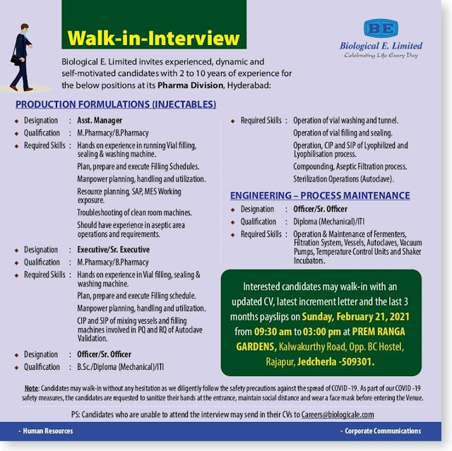 Biological E | Walk-in interview for Production/Engg on 21st Feb 2021 at Jadcherla