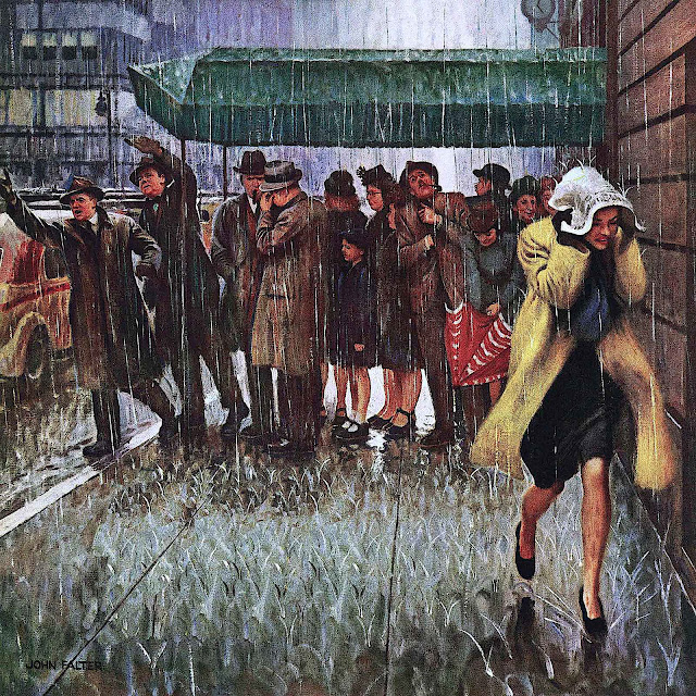 a John Falter illustration of urban people caught in a rain storm, running or hailing taxi cabs