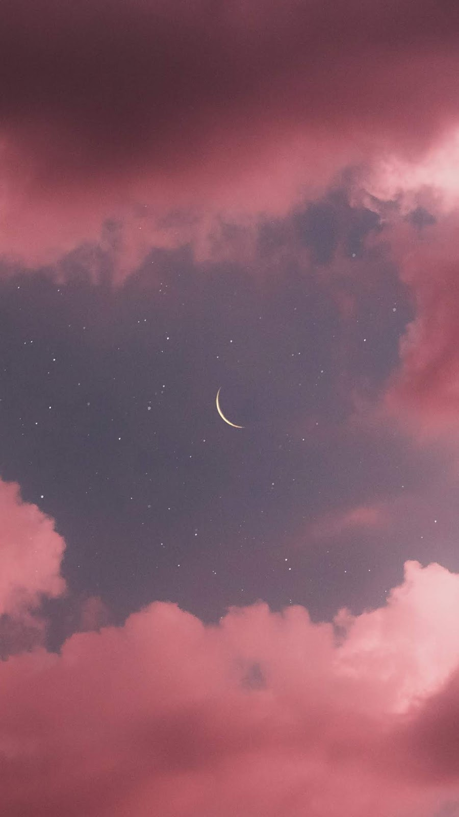 Crescent moon in the pink sky