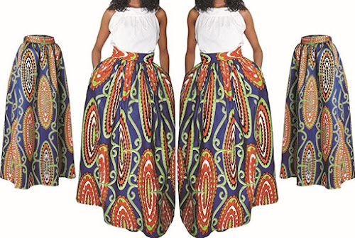 Women's Maxi Skirts: Fashionable Long High-Waist Dress Skirt with African Prints and Side Pockets - Eshoono