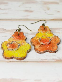 Orange Art Earrings