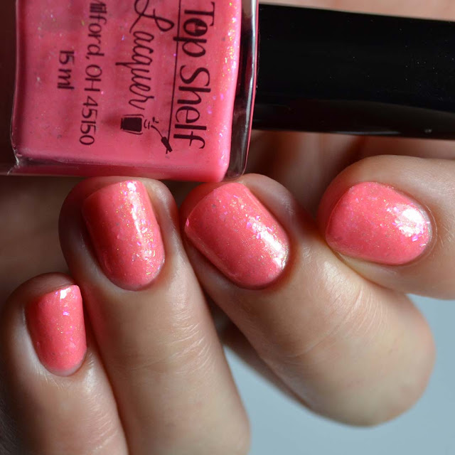 coral nail polish with flakies
