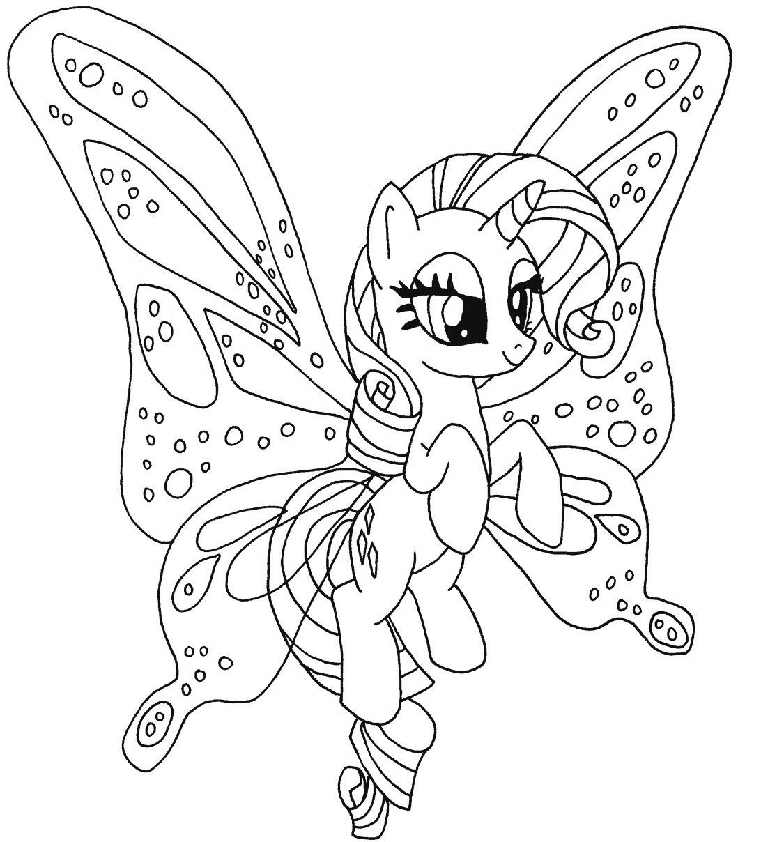 Little Pony Flying Coloring Page Free Printable Coloring