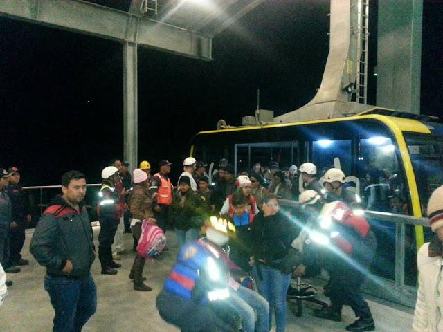 600 Turistas atrapados en el teleférico de Mérida por fallas del sistema