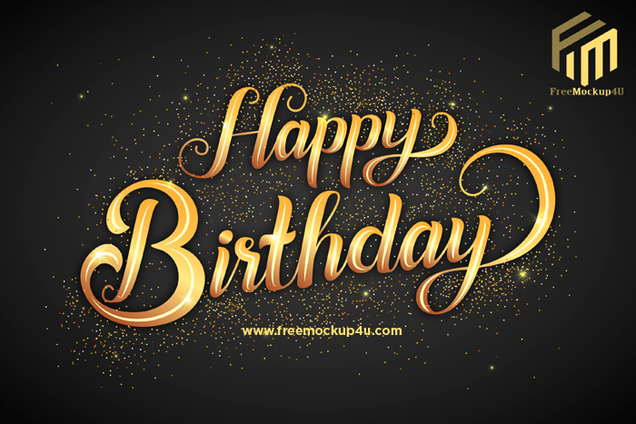 Happy Birthday Lettering With Golden Letters