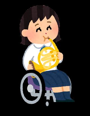 ホルンを演奏する学生のイラスト(車椅子の吹奏楽)