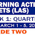 GRADE 2 LEARNING ACTIVITY SHEETS (Q3: Week 1) March 1-5, 2021