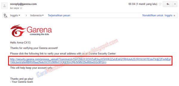 verifikasi email garena