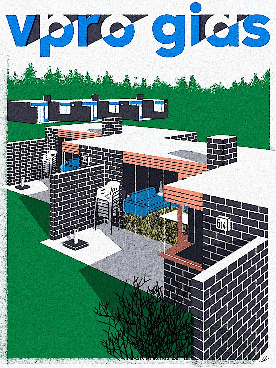 a Leonie Bos art print of exterior homes