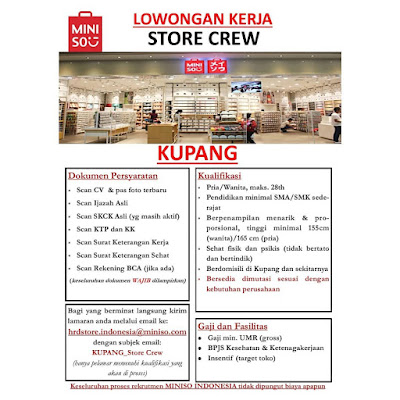 Lowongan Kerja Miniso Kupang Sebagai Store Crew