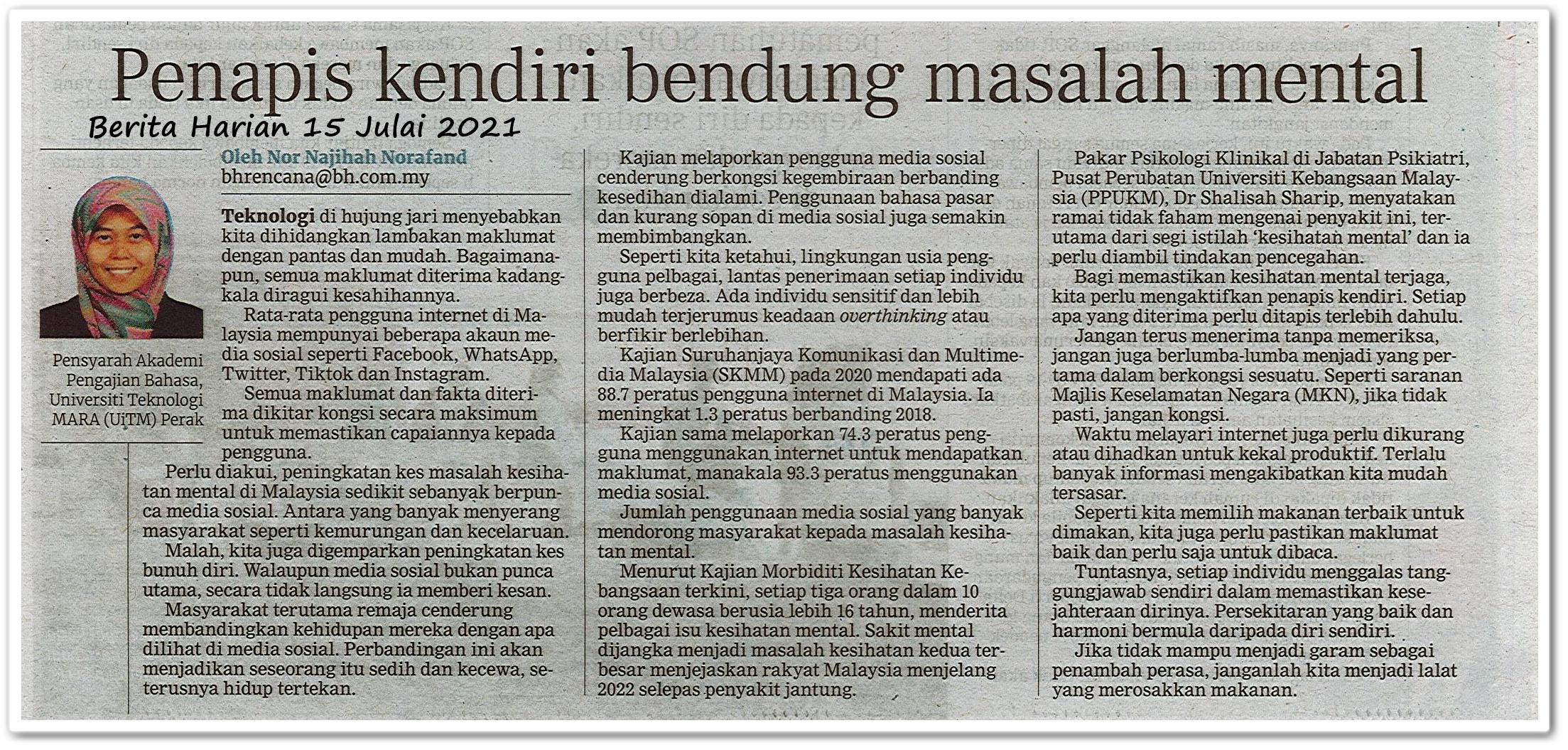 Penapis kendiri bendung masalah mental - Keratan akhbar Berita Harian 15 Julai 2021