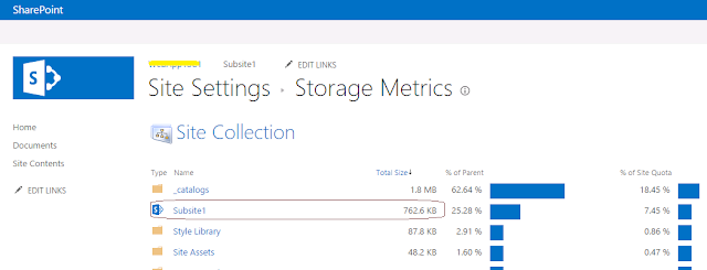 how to find the size of a subsite in sharepoint 2013