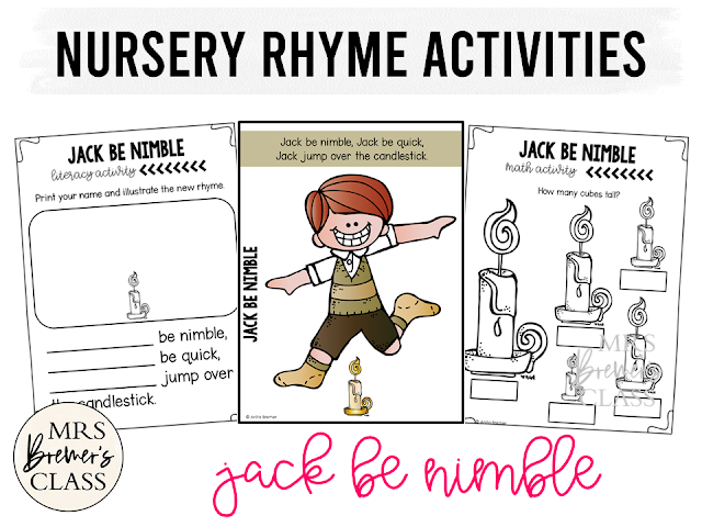 Jack Be Nimble activities unit with literacy and math Common Core aligned companion activities for Nursery Rhymes in Kindergarten