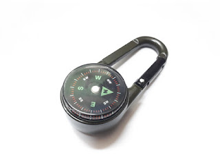 Carabiner Hook Compass Thermometer Metal Hiking Outdoor Tools